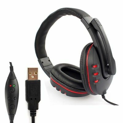 Wired USB Game Stereo Earpiece Headphones With Mic Noise Canceling For PC PS3 4