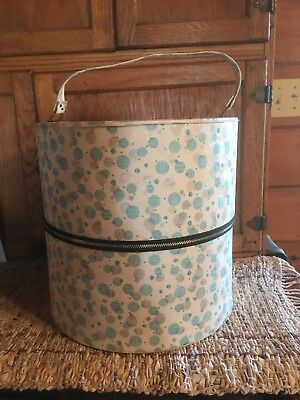 Vintage Retro  Colorful VinylMod WigTravelCarry Case Luggage Hat Box