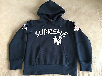 wholesale dealer a2146 a4a7f SUPREME X 47 Brand x New York Yankees Hooded Sweatshirt Navy Blue Size  Medium