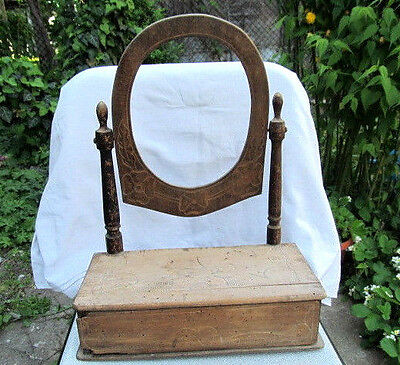Old Antique Primitive Wooden Hand Made Cabinet With Mirror Toilet Locker