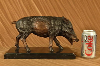 Wild Boar Hog Pig Home Office Decor Bronze Sculpture Statue Figurine Figure T