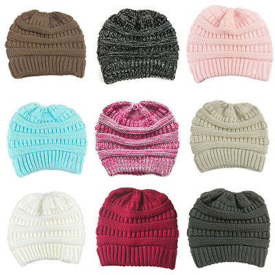 Womens Girls Stretch Knit Hat Messy High Bun Ponytail Beanie Warm Hole Caps Hats
