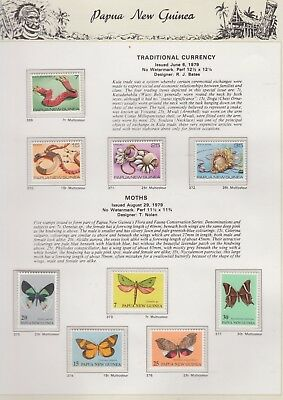 PAPUA NEW GUINEA 1979  on Illustrated Page MNH Removed  for Ship Currency/Moths