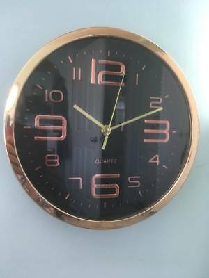 Vintage Retro Modern Style~Rose Gold / Copper & Black Round Wall Clock~25cm