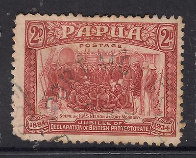 PAPUA 1934 2d 50th Anniv. of Declaration of protectorate *FINE USED Short perf
