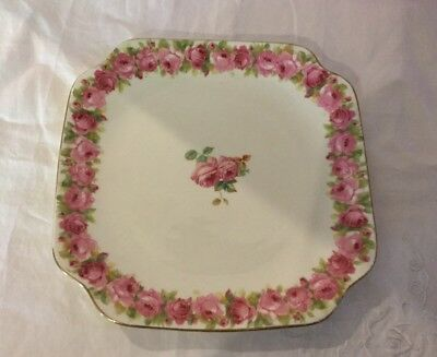 Royal Doulton Raby Rose Cake Plate.Bone China. Made in England.20.5cm X 20.5cm