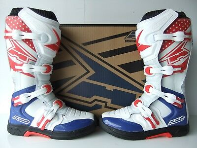 AXO RED BLUE Moulded Sole Motocross Enduro Boots 8 9 10 11 MX CR YZ RM YZF CRF
