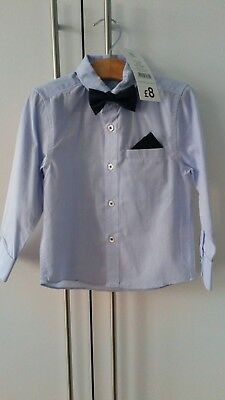 BNWT George Blue Shirt with Bow Tie Age 18-24 months