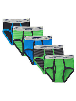 Fruit of the Loom Boys' Stripe and Solid Briefs, 5 Pack