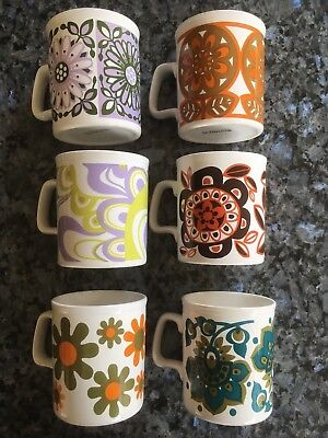 6 Vintage Retro 1970's Staffordshire Potteries Mugs Abstract Floral set in box