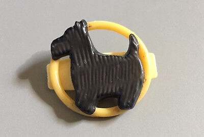 Art Deco Bakelite Catalin Plastic Black Scottie Dog Pin Brooch