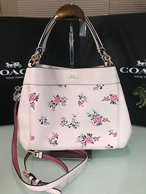 ac9d4e283338 Coach Small Lexy Shoulder Bag With Cross Stitch Floral Print F25858 Chalk