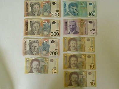Serbian money 790 Dinar worth $7.79 leftover travel money currency