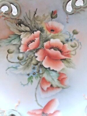 Vintage HAND PAINTED Handled Poppy Bowl Scallop Edge by Dorothy Miller Signed