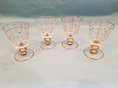 Vintage Style Set of 4 Fine Glass Small Sherry/Spirit Glasses-Gold Gilting/Dots
