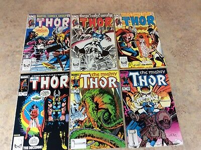 Mighty Thor #333,334,335,336,341,342 Lot Of 6 Vf Comic 1983-1984 Marvel