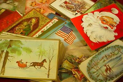 NICE LOT OF 125+ VINTAGE 1950s 60s CHRISTMAS CARDS FOR SCRAPBOOK CRAFTS ART