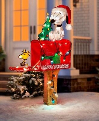 Snoopy And Woodstock On Mailbox Lighted Outdoor Christmas Decoration - 36