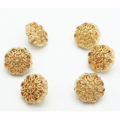 10pcs Gold Round Shirt Shank Buttons Metal Flower Carved Button Coat Sewing 10mm
