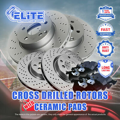 F+R 4 Cross Drilled Rotors & 8 Ceramic Pads for 2013-2015 Ford Focus Non-Turbo