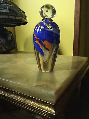 Large Vintage Hand Blown Perfume Bottle with stopper signed by the artist