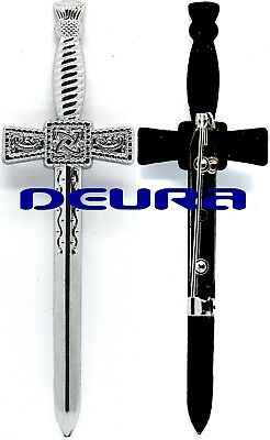 "Celtic Sword Board Kilt Pin SILVER PLATED Finish LARGE 4.5"" Highland Kilt Pin"