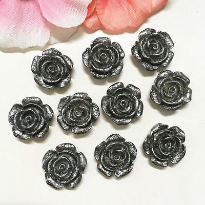 20PCS 14mm Gray Resin Rose Flower flatback Appliques For phone/wedding/Craft