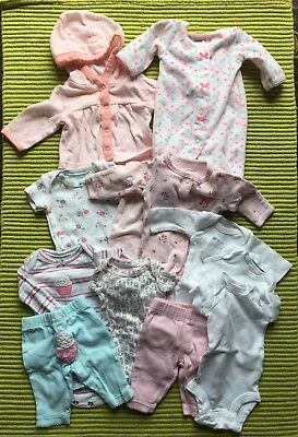 PREEMIE infant baby girl footed sleepers Mixed Lot 12 PIECES