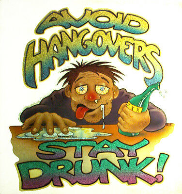 STAY DRUNK BEER T-SHIRT IRON ON 1970s VINTAGE RARE MEMORABILIA CRAFT BREWING