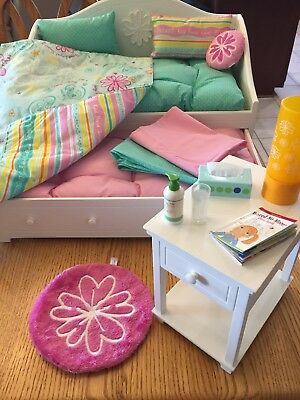 American Girl Bedroom Set White Trundle Bed And Night Stand With All The  Extras