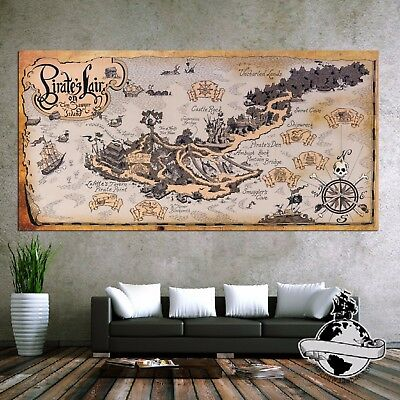 Large Banner canvas Vintage navigation Pirate Treasure Retro World Map Poster