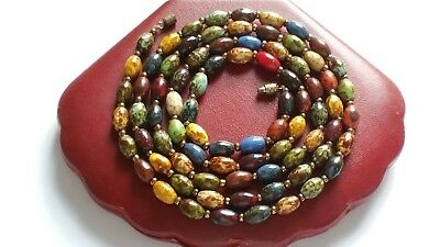 Vintage Very Long Scottish Glass Bead Necklace