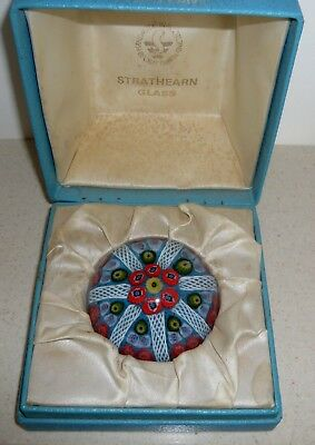 Strathearn Art Glass Millefiori 7 Spoke Paperweight (Boxed) ~ Red & Turquoise