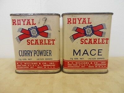 Vintage NY ROYAL SCARLET Spice Tins Curry Powder & Mace Advertising 1 1/2 OZS