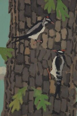 Colin Graham (1915-2010) RCA Original Oil Painting Woodpecker Canadian Listed