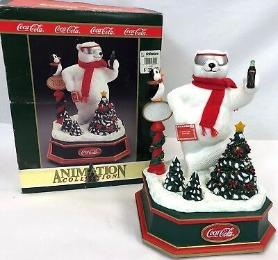 "Vintage 1994 Coca Cola 10"" Animated Light & Sound Coke Polar Bear Figure Statue"