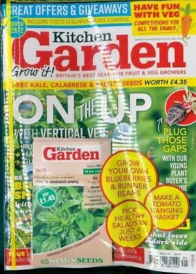 KITCHEN GARDEN MAGAZINE MAY 2018 WITH 5 x PACKS OF FREE SEEDS WORTH £6.40