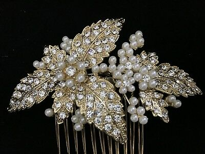 NEW Gold Tone Haircomb Hair Accessory with Pearl and Rhinestones