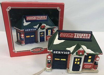 Vintage 1994 Coca Cola Coke Christmas Porcelain Village Tuckers Garage Mechanic