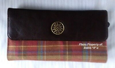 NEW Longaberger LARGE WALLET in TOBOSO PLAID & Brown Faux- Billfold-Checkbook
