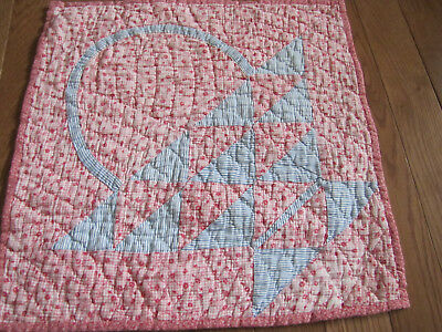 Rare Basket Doll Quilt approx.1850's ~ 1880's Double Pinks & Blue Ditsy Prints