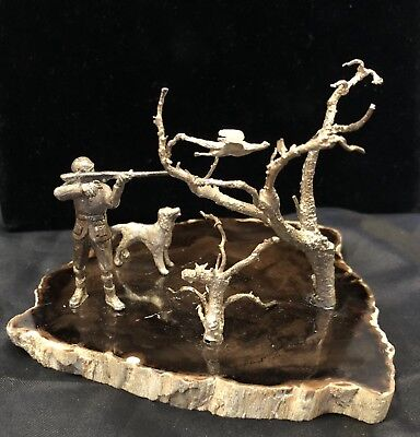 English Sterling Silver Miniature Figural Hunting Scene, London 1979