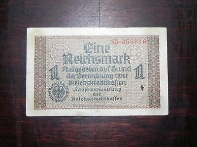Germany 1 Reichsmark Banknote, 1940s Occupied Terr, P-R136, Circ, JCcug 18420