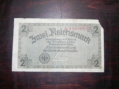 Germany 2 Reichsmark Banknote, 1940s Occupied Terr, P-R137, Circ, JCcug 18421