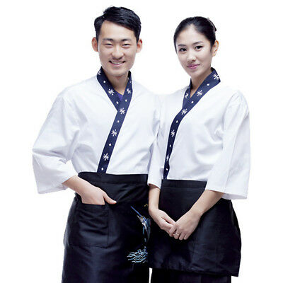 Unisex Chef Coat Sushi Jacket Japanese Restaurant Hotel Uniform Kitchen Workwear
