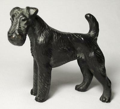 Vintage Solid Painted Cast Bronze Small AIREDALE TERRIER DOG Figurine
