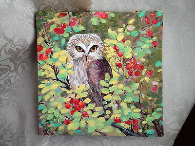 10x10 Original Painting by Ann K Signed BABY OWL and Wild Rose Berries Bird Art