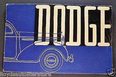 1938 Dodge Export Catalog Sales Brochure Nice Original 38