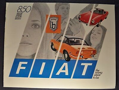 1970 Fiat 850 Catalog Brochure Racer Spider Coupe Sedan Excellent Original 70