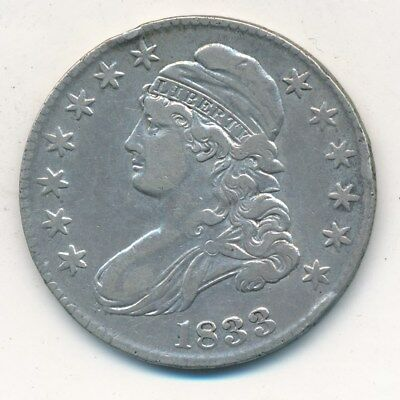1833 Capped Bust Silver Half Dollar-Very Nice Circulated Half-Ships Free! Inv:2
